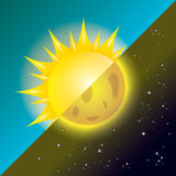 Sun and moon in sky, day and night. Royalty Free Stock Images