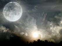 Sun moon. Moon and son at same time edited beautiful stock photography