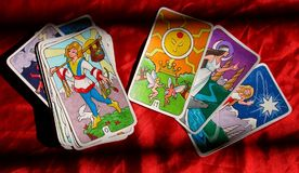 Sun, moon, star. Hand drawn tarot cards, based on the Rider Deck.  Major Arcana showing, sun, moon, star, and the fool Stock Photo
