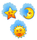 Sun, moon and star. Vector illustration of sun, moon and star Stock Images