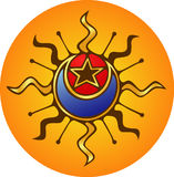 Sun, Moon, Star. Mystic emblem of sun, moon and star Royalty Free Stock Photography