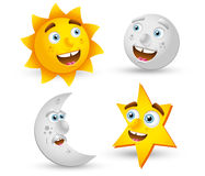 Sun moon star cartoon Royalty Free Stock Photography