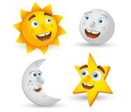 Sun moon star cartoon. Sun, moon, star cartoon illustration vector illustration