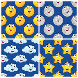 Sun Moon Star Cloud Seamless Patterns Stock Image