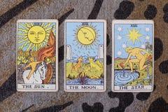 Sun, moon, star tarot cards. Stock Photo