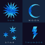 Sun moon star and thunder Blue low poly vector set design Royalty Free Stock Images