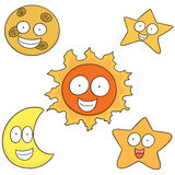 Clipart-Set: Sun, Moon And Star Royalty Free Stock Images - Image ...