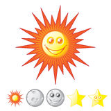Sun, Moon, Stars Royalty Free Stock Photos