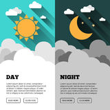 Sun, moon, stars banner. Day and night time. Sun, moon, stars and clouds banner. Day and night time vector concept banner. Sunny Day flyer. Star Moon Night flyer Stock Photos