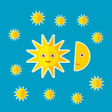 Sun Moon Stars on blue night sky. Modern style flat. Vector Stock Photo
