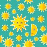 Sun Moon Stars on blue night sky seamless pattern. Modern style flat. Vector Stock Photography