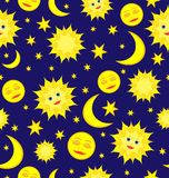 Sun, Moon, and Stars Celestial Seamless Pattern Vector backgroun Royalty Free Stock Photos