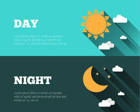 Sun, moon and stars, clouds icons. Day and night sky vector bann. Ers. Flat style illustration with long shadows. Day time concept posters Royalty Free Stock Photography