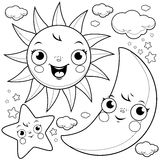 Sun moon and stars coloring page. Cute sun, moon, stars and clouds. Black and white coloring page illustration Royalty Free Stock Photo
