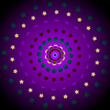 Sun moon stars mandala Stock Images