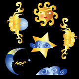 The sun, moon and stars. Stylized image of the sun and moon Stock Images