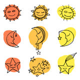 Sun, moon and stars vector icons. Cute and funny sun, moon and stars doodle icons. Vector set Stock Photo