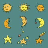 Sun, moon and stars vector icons. Cute and funny sun, moon and stars doodle icons. Vector set Royalty Free Stock Photo