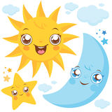 Sun moon and stars Stock Images