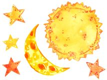 Sun, moon and stars, weather clipart set, hand drawn watercolor illustration