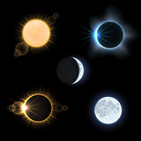 Sun moon and suns moons eclipse. Vector set Royalty Free Stock Images