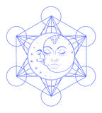 Sun Moon symbols as a face inside ornate colorful mandala. Round Stock Photo