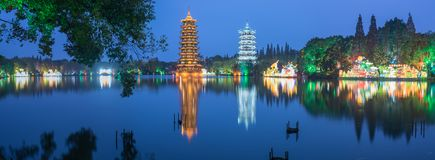 Sun and Moon Towers at night. Sun and Moon Towers in Guilin, China stock photo