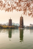 Sun-Moon Towers in sunset,Guilin Stock Image