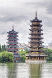 Sun and Moon twin double pagodas and Shanhu lake in  Guilin Stock Photos