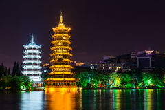Sun and Moon twin double pagodas and Shanhu lake in  Guilin Royalty Free Stock Photos