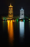 Sun and moon twin pagodas Royalty Free Stock Images