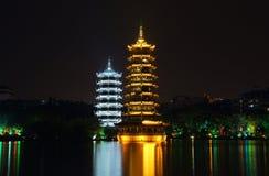 Sun and moon twin pagodas Royalty Free Stock Image