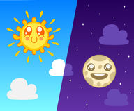 Sun and moon Stock Photography