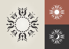 SUN MOON vector symbol. The tulip is the earliest ancient Hungarian floral motif wich is combined on this image with the sun and moon symbols. The Sun and Moon Stock Photo
