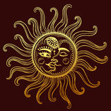 Sun and moon vintage illustration Stock Photography