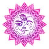 Sun and moon vintage illustration Stock Image