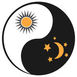 Sun and moon in ying yang symbol Royalty Free Stock Photography
