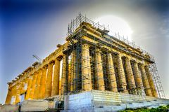 Sun Morning Parthenon Acropolis Athens Greece Stock Photo