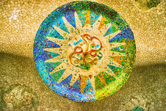 Sun mosaic at the Parc Guell, Barcelona Royalty Free Stock Image