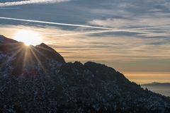 Sun in the mountain stock images