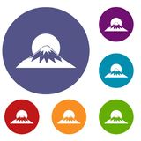 Sun and mountain icons set. In flat circle reb, blue and green color for web Royalty Free Stock Photos
