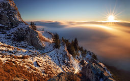 Sun, mountain landcape above clouds, nice nature Royalty Free Stock Image