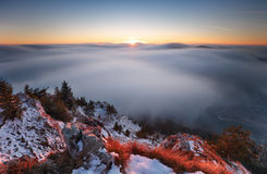 Sun, mountain landcape above clouds, nice nature Stock Photos