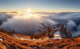Sun, mountain landcape above clouds, nice nature Royalty Free Stock Photos