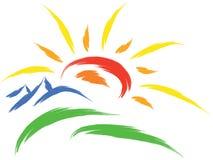 Sun and mountain vector illustration