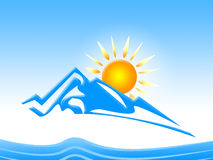 Sun Mountain Shows Snow Flakes And Country Royalty Free Stock Photo