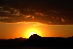 SUN AND MOUNTAIN ON SUNSET Stock Photography