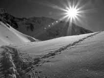 Sun in the mountains stock images