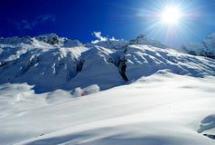 The sun in the mountains Stock Photo