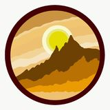 Sun and mountains, creative drawing in a circle.  Stock Photos